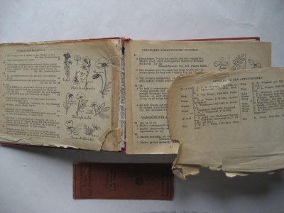 Papier is op meerdere pagina's gescheurd of kapot. Naaiwerk is zo goed als overal los.
